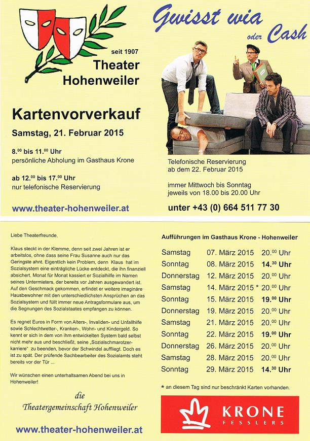 Flyer Theater Hohenweiler